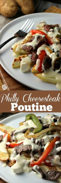 Philly Cheesesteak Poutine | by Renee's Kitchen Adventures - Classic poutine gets a make over when combined with the classic tastes of Philly Cheesesteak...cheese, more cheese, potatoes, steak and veggies. What's not to love? #SundaySupper #FWCon