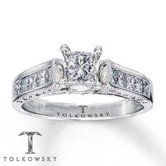 Tolkowsky Engagement Ring 1 1/4 ct tw Diamonds 14K White Gold