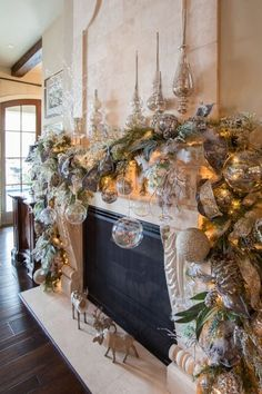 "CHRISTMAS INTERIOR "" ngg_triggers_display=""never"" order_by=""sortorder"" order_direction=""ASC"" returns=""included"" Christmas Fireplace, Christmas Mantels, Christmas Home, Christmas Wreaths, Fireplace Garland, Elegant Christmas, Beautiful Christmas, White Christmas, Silver Christmas Decorations"