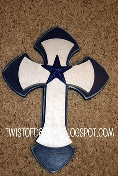 Medium Navy and silver Cross topped by twistofdazzle, $35.00