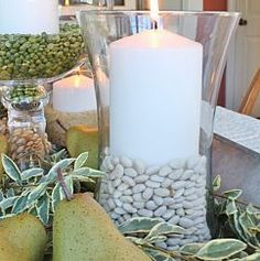 Natural vase fillers for fall arrangements by Sand & Sisal. http://www.sandandsisal.com/2012/10/green-and-white-autumn-centerpiece.html