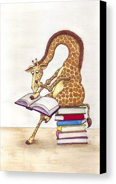 Reading Giraffe Canvas Print by Julia Collard. All canvas prints are professionally printed, assembled, and shipped within 3 - 4 business days and delivered ready-to-hang on your wall. Choose from multiple print sizes, border colors, and canvas materials. Funny Giraffe, Giraffe Art, Giraffe Nursery, Nursery Art, Canvas Art, Canvas Prints, Art Prints, Giraffe Pictures, I Love Books