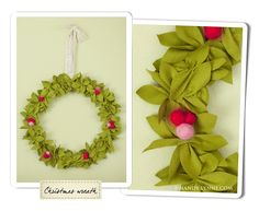 Handmade felt wreath made by Mandy Lynne that I'd love to figure out and make
