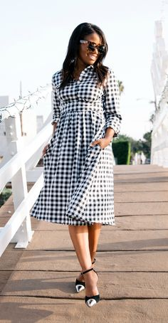 Downtown Demure Blog - Modest Gingham Merry Go Round Dress