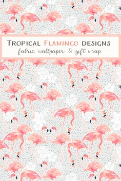 Shop the world's largest marketplace of independent surface designers Flamingo Pattern, Flamingo Fabric, Pattern Wallpaper, Fabric Wallpaper, Fabric Yarn, Creative Decor, Pink Flamingos, Flower Cards, Machine Quilting