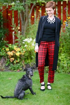 Black and red tartan with a statement necklace | How to wear black when you are pale.