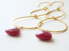 Vermeil Sterling Silver Earrings w/ Ruby Jade Drops. Long & Dangly!!