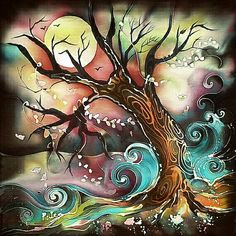 Abstract painting of swirly waves and bending tree in colorful cloudy moonlight. Full moon glowing.