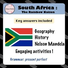 Embark with us on a trip to South Africa!Engage your students, right from the beginning with a little quiz and have them learn, step by step, about South Africa: the animals the geography Nelson Mandela the history of South Africa and its flagTwo fictional characters will also lead us in this, from their preparation of their trip to their first article.