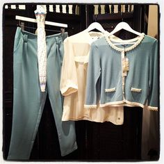 Going to work and want to look smart.This powder blue colour is huge for Spring/Summer 2013.Get the look with this Pretty Farah Cardigan, Cream Blouse and matching Powder Blue Trousers. Lets hope you don't need to take the umbrella!