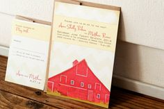 Red Barn Wedding Invitation - Country Barn Wedding