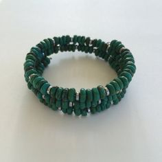 Green Turquoise bracelet memory wire  silver by ksewingbasket