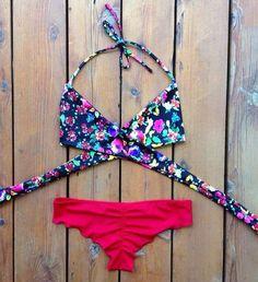 [ $21.00 ] Sexy Cross Print Bikini Set Swimsuit Swimwear