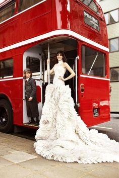 Bride takes the traditional Double Decker | London wedding