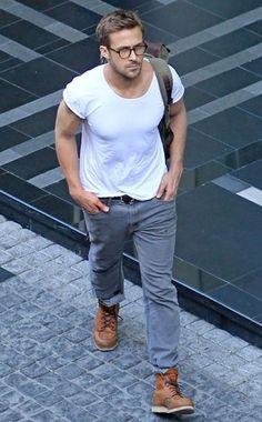 Ryan Gosling - I think I died a little inside. His shoes. White tee. Eyewear. Biceps. Biceps. Biceps.