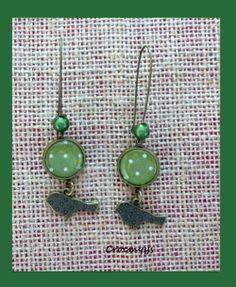 Grandes boucles d'oreille rétro verte à pois blancs : Boucles d'oreille par crocmyys