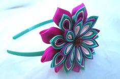 Tsumami kanzashi flower headbandKanzashi by RibbonAndCrystals