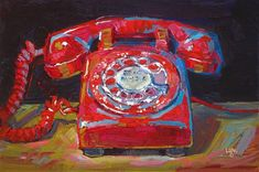 "Daily Paintworks - ""Rotary Telephone Red"" - Original Fine Art for Sale - © Raymond Loga Painting Inspiration, Art Inspo, Still Life Art, Paintings I Love, Office Art, Fine Art Gallery, Portrait Art, Aesthetic Art, Collage Art"