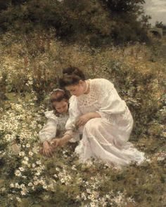 Hermann Seeger  Picking daisies (so sweet.. for some reason makes me think of my mom and I & perhaps later my own daughter and I )