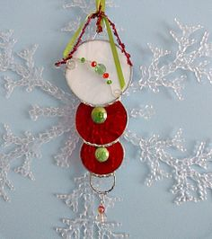 Red Holly and White Stained Glass Christmas Ornament by miloglass, $14.00
