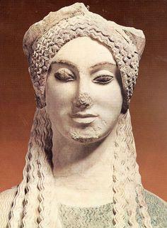 Greek archaic Kore (idealized young woman), C. Greek History, Ancient History, Art History, Ancient Greek Art, Ancient Greece, Ancient Greek Architecture, Art And Architecture, Roman Sculpture, Sculpture Art