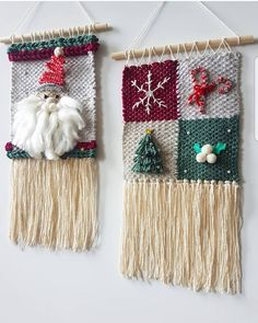 #christmas #woven #giftsidea Weaving Textiles, Weaving Art, Loom Weaving, Tapestry Weaving, Weaving Designs, Weaving Projects, Weaving Patterns, Yarn Crafts For Kids, Christmas Wall Hangings