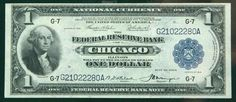 1918, $1 Federal Reserve Bank Note. PCGS Extremely Fine 40PPQ A lovely example from the Chicago bank, problem-free and only modestly circulated. Estimated Value $120 - 150. #Banknotes #USFederal #MADonC