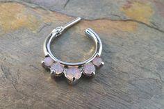 16 Gauge Pink Opalite Crystal Septum Ring Clicker Daith Ring Nose Piercing