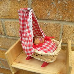Miniature Red Rocking Crib 1950's with Baby by PollysVintageBears, £17.50