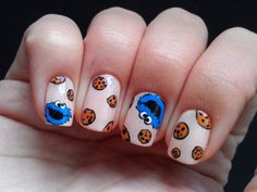 tattoo nail art turials so you can comprehend how i painted my nails if you want to recreate Disney Acrylic Nails, Cute Acrylic Nails, Acrylic Nail Designs, Cute Nails, Pretty Nails, Nails For Kids, Girls Nails, Cookie Monster Nails, Food Nail Art