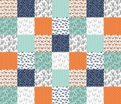 deer quilt // patchwork cheater quilt wholecloth baby quilt orange mint navy blue boys quilt nursery fabric by andrea_lauren on Spoonflower - custom fabric