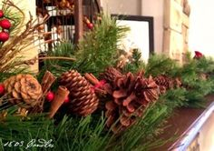 Pine Bough with Pine Cones on the Mantel