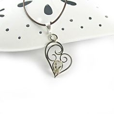 Silver heart pendant with lemon quartz handmade by byPiLLowDesign, $65.00