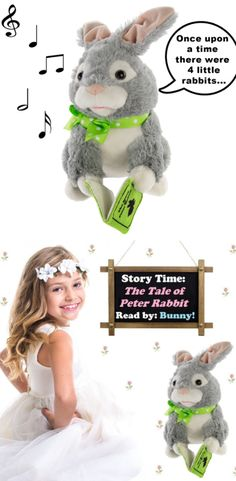 A rabbit lover? Check out this bunny that reads the classic The Tale of Peter Rabbit.  This Storytelling Bunny plush toy moves his mouth to the words and sways his head to a piano soundtrack.  #storytelling #plushtoy #stuffedtoys #afflink