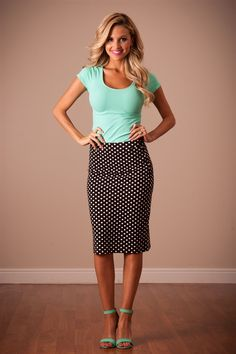 Black Polka Dot Modest Skirt by Mikarose | Trendy Modest Dresses | Mikarose Spring 2014 Collection