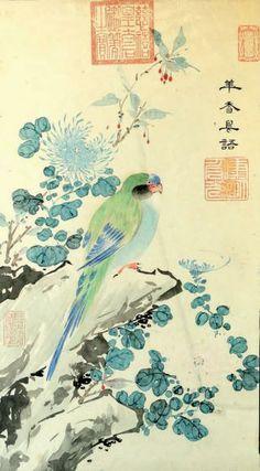 Peinture à l'encre et couleurs sur papier, représentant un perroquet sur un rocher entouré de chrysanthèmes. Porte les cachets de l'impératrice douairière Cixi. (Déchirure, restaurations et taches). Dim.: 64 x 35 cm. Encadrée sous verre.