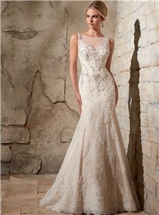 Gorgeous Sheath Bateau V Back Beaded Emobroidery Lace Appliques Wedding Dress