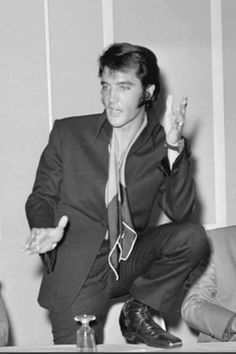 August 1, 1969 - Elvis Presley during a press conference after his first performance at the International Hotel in Las Vegas.