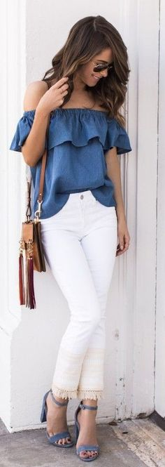 #spring #style #fashionistas #outfitideas | Blue Ruffle Off The Shoulder Top White Jeans | The Style Bungalow