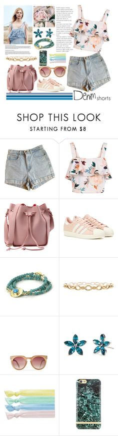 """""""Senza titolo #5094"""" by waikiki24 ❤ liked on Polyvore featuring American Apparel, New Look, adidas, Feather & Stone, New Directions, Ribband, Richmond & Finch, jeanshorts, denimshorts and cutoffs"""