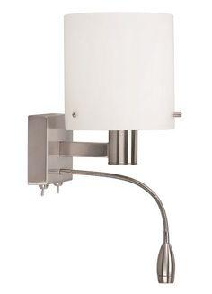 Slaapkamerverlichting! Designlamp Economy is afgewerkt met een glazen kap die het licht sfeervol verspreid. Met daaronder een handige leeslamp! Iedere lamp is apart te bedienen.