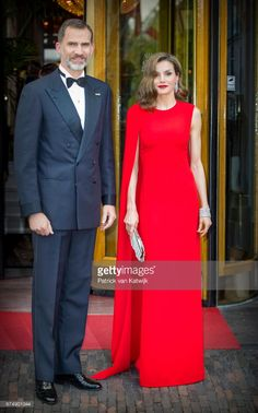 King Felipe of Spain and Queen Letizia of Spain leave their hotel to attend the private birthday party of King Willem-Alexander of The Netherlands in the Royal Stables on April 29, 2017 in The Hague, Netherlands. (Photo by Patrick van Katwijk/Getty Images)