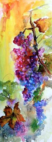 Burgundy Wine Grapes Original Watercolor , Watercolor and Ink - Ginette Fine Art, The Art of Ginette Callaway  - 1