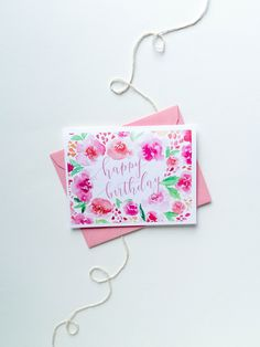 Floral Watercolor Birthday Card by BellePlumeDesign on Etsy https://www.etsy.com/listing/275478934/floral-watercolor-birthday-card