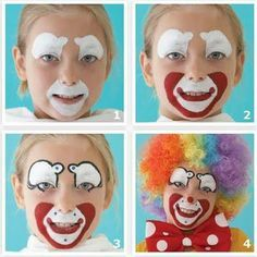 Pasos maquillaje de payaso, niños. Steps face painting  kids, clown, make up