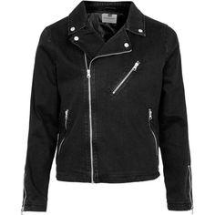 TOPMAN Black Denim Biker Jacket ($83) ❤ liked on Polyvore featuring men's fashion, men's clothing, men's outerwear, men's jackets, men, mens denim biker jacket, mens biker jacket, mens denim jacket and mens denim motorcycle jacket