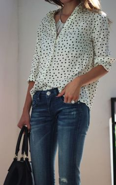 polka dots & denim. I like that the jeans are distressed, it makes the polka dots appear less fussy...