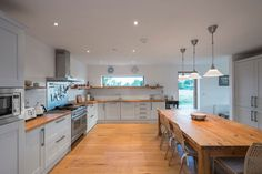 The refurbishment of a new passive-designed home in Wicklow by Patrick Lynch, completed Bungalow Extensions, House Extensions, Modern Kitchen Cabinets, Kitchen Cabinet Design, House Designs Ireland, Shed Homes, Modern Barn, Architect House, Open Plan Kitchen
