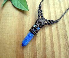 Lapis Lazuli wand macrame necklace macrame jewelry by SelinofosArt