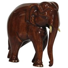 """Bulk Wholesale 6.3"""" Hand-Carved Wooden Elephant Sculpture / Statue in Brown Color – Interior Decorating Items / Mantel Decorations – Home / Office Décor"""